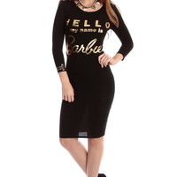 My Name is Barbie Black Body Con Dress