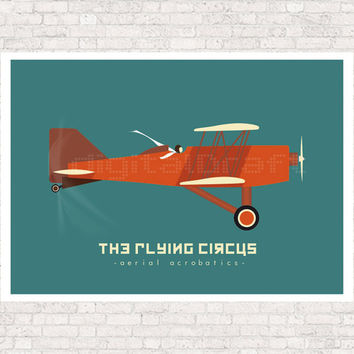 Vintage - Red Aircraft - Print Poster - Flying Circus illustration -  kids wall art - kids poster - kids art print