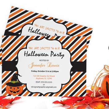 Halloween Invitation with Pumpkins Template - 7 x 5 Black & Orange Stripes Halloween Party Editable PDF Invitation Templates - DIY You Print