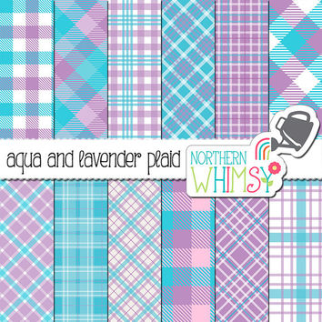 Aqua And Lavender Plaid Digital Paper From Northernwhimsydesign