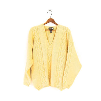 Oversized Light Yellow Wool Sweater Cable Knit Slouchy V Neck Pullover Womens Fishermens Slouchy Sweater Large XL
