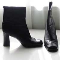 Booties Black Boots Ankle Boots Size 11 Boots Womens Boots Leather Boots 90s Boots 70s Boots Vintage Boots Ladies Boots High Heel Boots 60s
