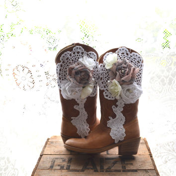 Vintage cowboy boots, Romantic fall country chic western boots, Autumn barn wedding, Embellished shabby cottage shoes, True rebel clothing
