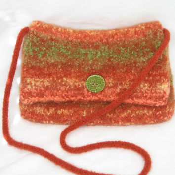 Knitted Felted Envelope Style Bag With Detachable Shoulder Strap In Shades of Coral Green Burnt Orange and Cream Wool