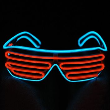 20pcs/lot New Fashion Electrominescent Wire Neon LED Lighting Up Shutter Shaped KTV party chrismas festival glasses with driver