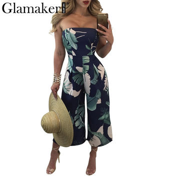 Glamaker Sexy off shoulder beach jumpsuit romper Summer printed long jumpsuit Fit flare party women jumpsuit overalls