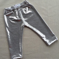 Silver shiny infant/toddler leggings