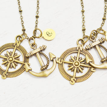 best friend monogram jewelry,friendship necklace,stocking stuffer,anchor and compass jewelry,sailing jewelry,navy couples,bridesmaid jewelry