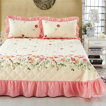 Spring Lovers Dream Ruffled Luxury Quilted Bedspread