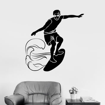 Vinyl Wall Decal Surfing Surfer Wave Water Sport Stickers Unique Gift (1001ig)