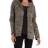 Olive Combo Camo Print Utility Jacket by Charlotte Russe