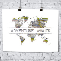 Adventure Awaits Map - Art Print - World Map - Typography Art - Home Office Decor - Housewarming Gift - Wedding Gift - Dorm Decor - Travel
