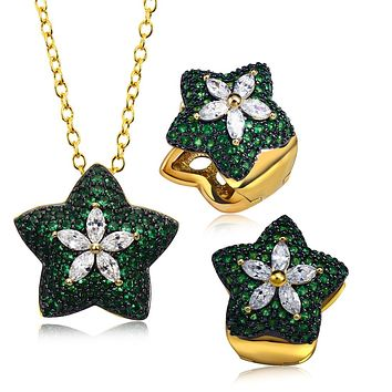 Green Color Trendy Necklace Earrings Jewelry sets 130 Piece Emarald CZ Crystal  Lead Free Jewelry