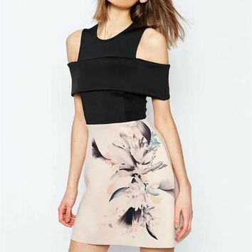 Fashion Round Neck Strapless Short Sleeve Flower Print Mini Dress