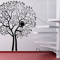 Huge 8 Foot Tall Owl Tree Vinyl Wall Decal