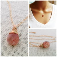 Sunstone Necklace - Dainty Drop Necklace - 14k Gold Fill Necklace - Gemstone Briolette Necklace - Gold Fileld Jewelry - Gift for Her