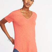 Luxe Curved-Hem V-Neck Tee for Women | Old Navy