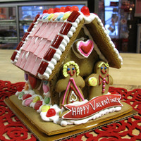 SALE - Valentine's Day Edible Decorated Gingerbread House - Red and Pink with Conversation Hearts Candies and Cookies