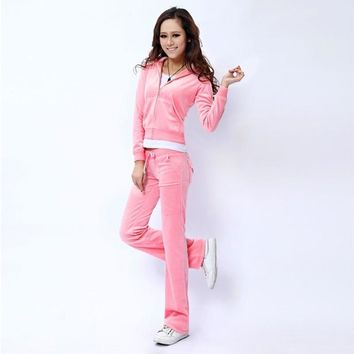 Juicy Couture Pure Color Velour Tracksuit 6047 2pcs Women Suits Pink