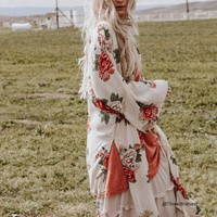Enchanted Blooms Kimono in Ivory