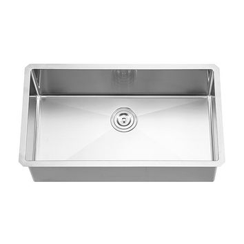 DAX-3219R10 / DAX HANDMADE SINGLE BOWL UNDERMOUNT KITCHEN SINK, 18 GAUGE STAINLESS STEEL, BRUSHED FINISH