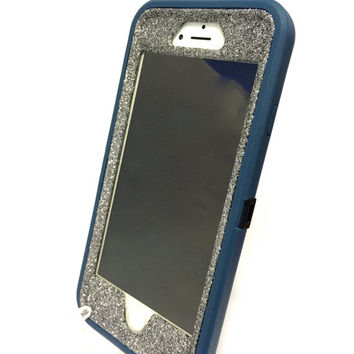 iPhone 6 (4.7 inch) OtterBox Defender Series Case Glitter Cute Sparkly Bling Defender Series Custom Case  Deep water blue / graphite