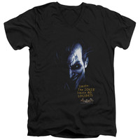 BATMAN AA/ARKHAM JOKER - S/S ADULT V-NECK - BLACK -