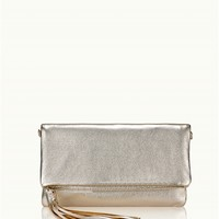 Stella Fold-Over Clutch | White Gold Metallic Goatskin Leather | GiGi New York