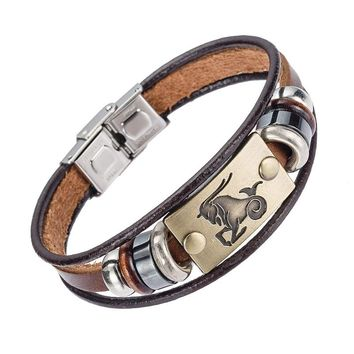 Alibaba Hot Selling Europe Fashion 12 zodiac signs Bracelet With Stainless Steel Clasp Leather Bracelet for Men