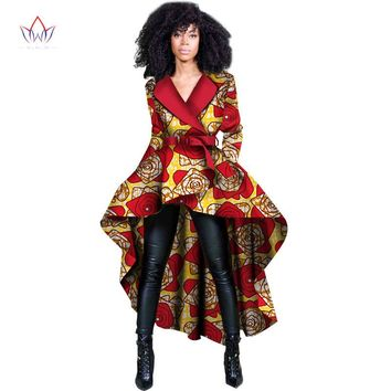 2017 Spring African Women Traditional Top Dashiki Print Wax Elegant Riche Trench Africa Clothes for Ladies WY1397