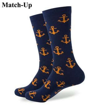 New style  men's combed cotton ANCHOR SOCKS Wedding socks Free shipping US size(7.5-12)