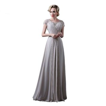 Gray Chiffon Evening Dresses Short Sleeves Lace Applique Bead Long Party Dress A-line Formal Dresses Prom Gowns