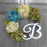 Rustic Wreath - Hydrangea Wreath - Monogram Wreath - Front Door Wreath - Blue and Green Hydrangeas - Door Decoration - Housewarming Gift
