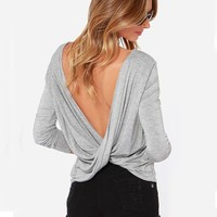 Posh Girl Open Back Knit Long Sleeve Top