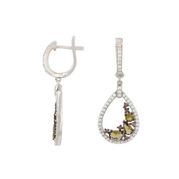 Sterling Silver Dangle Earrings Elegant Leverback Brown and White CZ