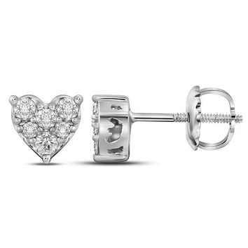 10kt White Gold Women's Round Diamond Heart Cluster Stud Earrings 1-3 Cttw - FREE Shipping (US/CAN)
