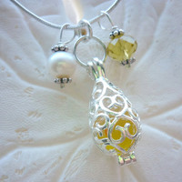 Yellow Sea Glass Necklace Locket Beach Glass Jewelry Necklaces Pendant