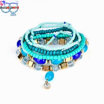 Beaded bracelet Bohemian multi-layer bracelet Fashion Women Lots Style Bracelet Bangle  Charm Cuff  Jewelry  Rhinestone