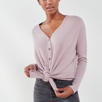 Out From Under Jojo Oversized Thermal Button-Front Top   Urban Outfitters