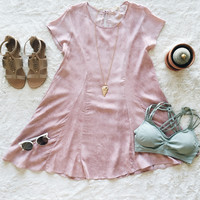 A Swing Tee Dress in Blush