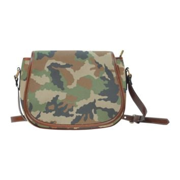 Women Shoulder Bag Woodland Forest Camouflage Saddle Bag Large