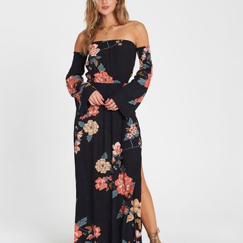 Billabong Women's Crystal Flower Off The Shoulder Dress|Black