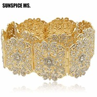 Luxurious Gold-Color Rhinestone Belly Chains Crystal-Studded Wide Waist Adjustable Roman Belt