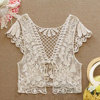 Apricot Floral Lace Sleeved Capelet