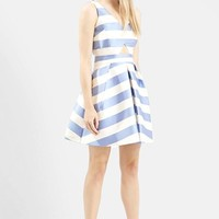 Women's Topshop Stripe V-Neck Cutout Dress,