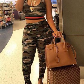Army Green Camouflage Print Two Piece High Waisted Camo Long Jumpsuit