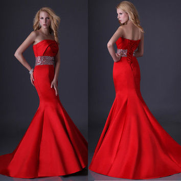 Applique Sexy Women Vintage Formal Gown \Evening/Prom/Party Long Mermaid Dresses