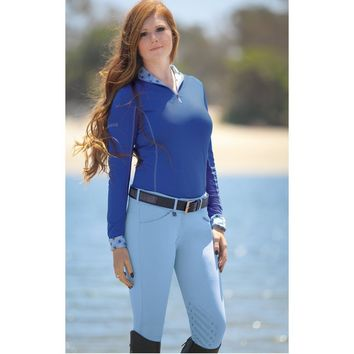 Romfh Ladies Gabriella Low-Rise Euroseat Breeches - Periwinkle