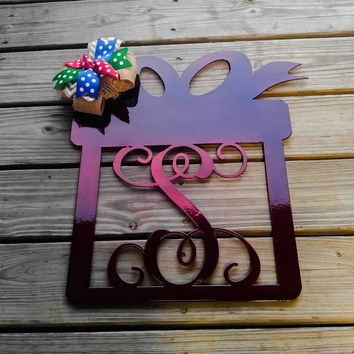 Monogram door wreath, Christmas wreath, Christmas Door hanger,  Christmas wall decor, Snowflake, Holiday decor, Christmas Decor, Metal