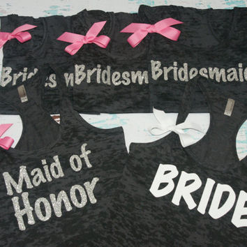 Bride. Bridesmaid. (7) Bridal Tank Top. Maid of Honor. Shirt. Bridal Party Wedding Gift Bachelorette. Customized Personalized Pink. Purple.